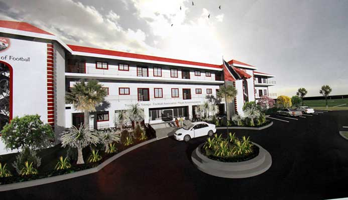 An artist's depiction of what the new TTFA home in Couva is expected to look like by September next year.