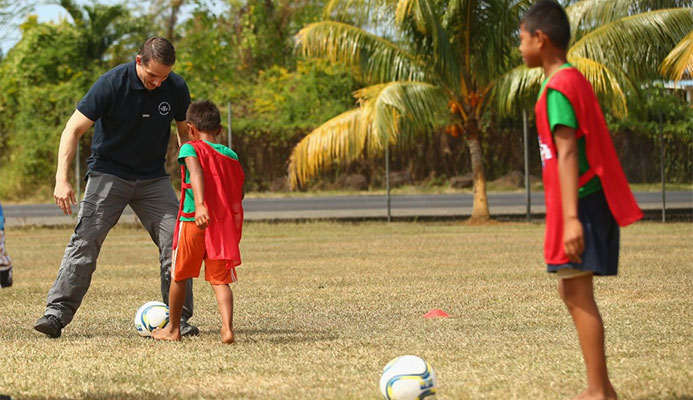 David Grevemberg, the Commonwealth Games Federation's chief executive, plays football during the 2015 Commonwealth Youth Games in Samoa. He has more nifty footwork to do as the CGF considers a range of potential replacements for Durban as hosts of the 2022 Games ©Getty Images