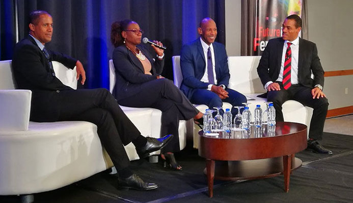 Moderator Nicole Duke-Westfield makes a point during last week's panel on evaluating business plans at the sports industry conference hosted by the Trinidad And Tobago Olympic Committee at the Hyatt Regency in Port of Spain