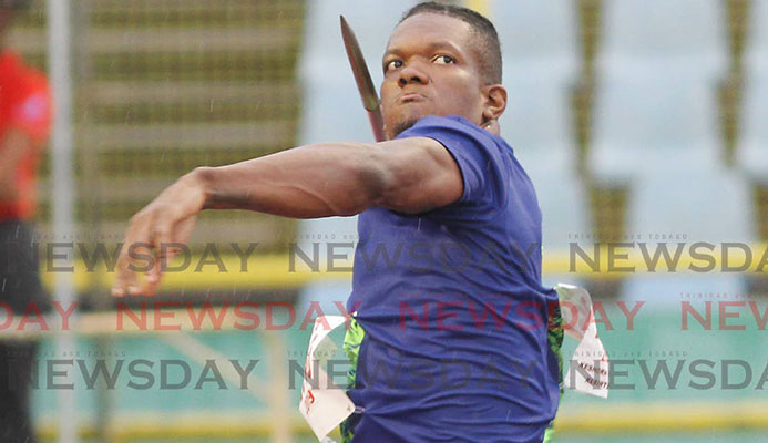 Keshorn Walcott throws the javelin on Saturday at the 2019 NGC/NAAA National Open Championships, at the Hasely Crawford Stadium, Mucurapo. PHOTO BY ANGELO MARCELLE