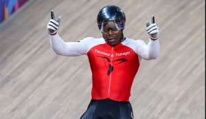 Nicholas Paul of Trinidad and Tobago celebrates after winning men's sprint gold at the Pan American Games ©Getty Images